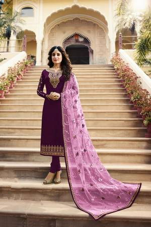 Grab This Very Beautiful Designer Straight Suit In Purple Color Paired With Pretty Embroidered Dark Purple Colored Dupatta. Its Top Is Fabricated On Satin Georgette Paired With Santoon Bottom and Net Fabricated Dupatta. Buy This Designer Embroidered Suit Now.