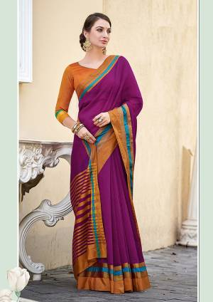 Here Is Beautiful And Elegant Looking Purple Colored Plain Saree Paired With Contasting Orange Colored Blouse. This Saree And Blouse Are Fabricated On Cotton, Its Fabric IS Light In Weight And Ensures Superb Comfort All Day Long.