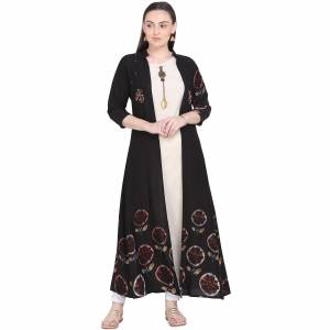 Simple and Elegant Looking Readymade Pair Of Kurti Is Here Which IS Cotton Based. This Kurti Is In Cream Color Paired With Black Colored Jacket. Buy This Unique Piece Now.
