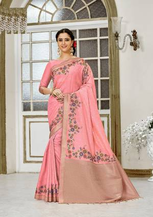 For A Proper Traditional Look, Grab This Designer Silk Based Saree In Light Pink Color. This Saree Is Fabricated On Banarasi Silk Paired With Art Silk Fabricated Blouse, Beautified With Attractive Floral Weave.