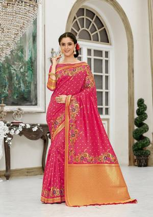 For A Proper Traditional Look, Grab This Designer Silk Based Saree In Dark Pink Color. This Saree Is Fabricated On Banarasi Silk Paired With Art Silk Fabricated Blouse, Beautified With Attractive Floral Weave.