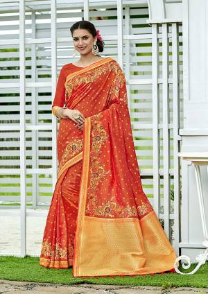 For A Proper Traditional Look, Grab This Designer Silk Based Saree In Dark Orange Color. This Saree Is Fabricated On Banarasi Silk Paired With Art Silk Fabricated Blouse, Beautified With Attractive Floral Weave.
