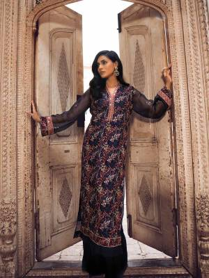 Grab This Heavy Designer Straight Suit In Navy Blue Color. Its Top And Dupatta Are Fabricated On Georgette Paired With Santoon Bottom. It Is Beautified With Heavy Attractive Embroidery Over The Top. Buy Now.