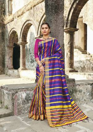 Grab This Pretty Silk Based Saree In Royal Blue Color Paired With Dark Pink Colored Blouse. This Saree Is Fabricated On Cotton Silk Paired With Art Silk Fabricated Blouse.
