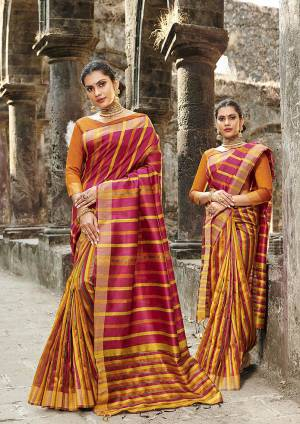 Grab This Pretty Silk Based Saree In Dark Pink Color Paired With Orange Colored Blouse. This Saree Is Fabricated On Cotton Silk Paired With Art Silk Fabricated Blouse.