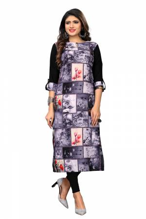 Here Is Simple Printed Kurti For Your Casual Wear. This Pretty Kurti Is Fabricated On Crepe Beautified With Prints. It IS Light In Weight And Easy To Carry All Day Long.