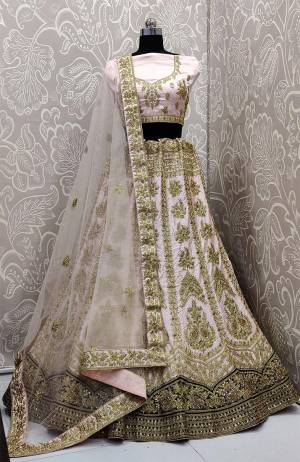 Here Is A Very Beautiful And Attractive Looking Heavy Designer Lehenga Choli In Baby Pink Color. Its Blouse Is Fabricated On Satin Silk Paired With Satin Silk And Velvet Fabricated Lehenga And Net Fabricated Dupatta. Buy Now.