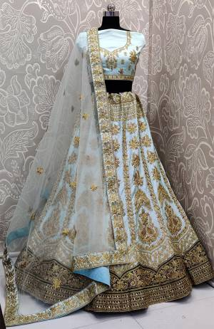 Here Is A Very Beautiful And Attractive Looking Heavy Designer Lehenga Choli In Sky Blue Color. Its Blouse Is Fabricated On Satin Silk Paired With Satin Silk And Velvet Fabricated Lehenga And Net Fabricated Dupatta. Buy Now.