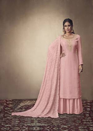 You Will Definitely Earn Lots Of Compliments Wearing This Designer Straight Suit In Light Pink Color. Its Weaved Top Is Fabricated Banarasi Jacquard Paired With Satin Fabricated Bottom And Georgette Fabricated Dupatta Which Is Beautified With Pretty Tone To Tone Lakhnavi Work.