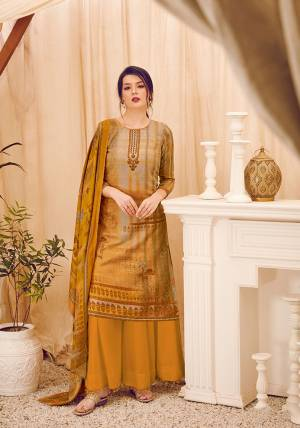 Add This Beautiful Designer Straight Suit In Yellow Color. Its Pretty Top, Bottom And Dupatta Are Fabricated On Wool Pashmina Beautified With Prints And Stone Work. Its Fabric Is Soft Towards Skin And Suitable For The Upcoming Winters.