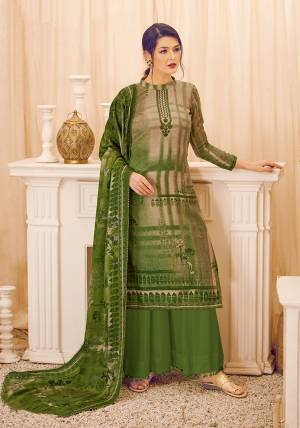 Add This Beautiful Designer Straight Suit In Green Color. Its Pretty Top, Bottom And Dupatta Are Fabricated On Wool Pashmina Beautified With Prints And Stone Work. Its Fabric Is Soft Towards Skin And Suitable For The Upcoming Winters.