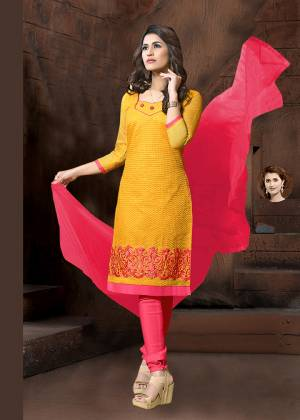 Grab This Designer Straight Suit In Yellow Color Paired With Contrasting Dark Pink Colored Bottom And Dupatta. Its Thread Embroidered Top Is Fabricated On Modal Silk Paired With Cotton Bottom And Chiffon Fabricated Dupatta. It Is Light In Weight and Easy To Carry All Day Long.