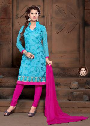 For Your Casual Or Semi-Casual Wear, Grab This Designer Straight Suit In Sky Blue Color Paired With Contrasting Rani Pink Colored Bottom And Dupatta. Its Top Is Fabricated On Modal Silk Paired With Cotton Bottom And Chiffon Fabricated Dupatta.