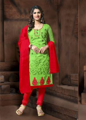 Grab This Designer Straight Suit In Green Color Paired With Contrasting Red Colored Bottom And Dupatta. Its Thread Embroidered Top Is Fabricated On Modal Silk Paired With Cotton Bottom And Chiffon Fabricated Dupatta. It Is Light In Weight and Easy To Carry All Day Long.