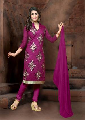 Simple Dress Material Is Here In Purple Colored Top Paired With Purple Colored Bottom and Dupatta. Its Top Is Modal Silk Based Paired With Cotton Bottom And Chiffon Fabricated Dupatta. It Top Is Beautified With Thread Embroidery Work.