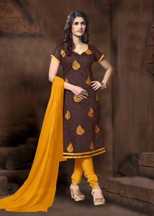 For Your Casual Or Semi-Casual Wear, Grab This Designer Straight Suit In Brown Color Paired With Contrasting Musturd Yellow Colored Bottom And Dupatta. Its Top Is Fabricated On Modal Silk Paired With Cotton Bottom And Chiffon Fabricated Dupatta.
