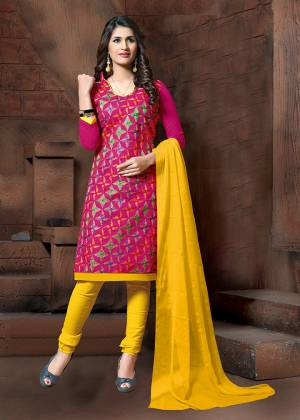 Simple Dress Material Is Here In Dark Pink Colored Top Paired With Yellow Colored Bottom and Dupatta. Its Top Is Modal Silk Based Paired With Cotton Bottom And Chiffon Fabricated Dupatta. It Top Is Beautified With Thread Embroidery Work.