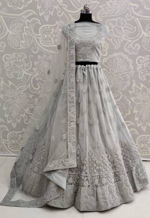 You Will Definitely Earn Lots Of Compliments Wearing This Designer Trendy Lehenga Choli In Grey Color. Its Blouse, Lehenga And Dupatta Are Fabricated On Net Beautified With Tone To Tone Embroidery Giving A Rich Subtle Look. Buy This Lovely Piece Now.