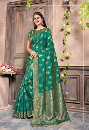 For A Proper Traditonal Look, Grab This Very Beautiful Designer Saree In Sea Green Color. This Saree Is Fabricated On Weaving Silk Paired With Art Silk Fabricated Blouse. Its Color and Rich Fabric Will Give An Attractive Look To Your Personality.