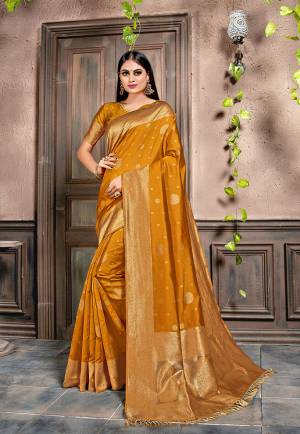For A Proper Traditonal Look, Grab This Very Beautiful Designer Saree In Musturd Yellow Color. This Saree Is Fabricated On Weaving Silk Paired With Art Silk Fabricated Blouse. Its Color and Rich Fabric Will Give An Attractive Look To Your Personality.