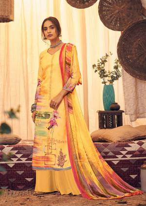 Here Is A Very Pretty And Trendy Straight suit In Yellow Color. Its Top And Bottom Are Fabricated On Wool Pashmina Paired With Chiffon Based Dupatta, This Pretty Suit Is Suitable For The Upcoming Winters, Buy Now.