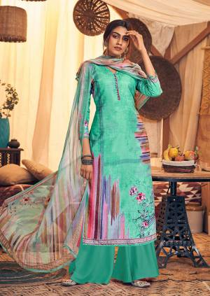 Get Ready For The Upcoming Winters Wearing This Designer Straight Suit In Sea Green Color. Its Pretty Top And bottom Are Fabricated On Wool Pashmina Paired With Chiffon Fabricated Dupatta. It Is Beautified with Prints And Stone Work.
