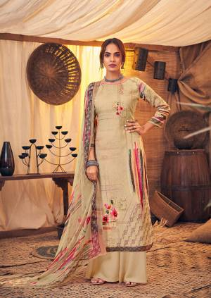 Get Ready For The Upcoming Winters Wearing This Designer Straight Suit In Beige Color. Its Pretty Top And bottom Are Fabricated On Wool Pashmina Paired With Chiffon Fabricated Dupatta. It Is Beautified with Prints And Stone Work.