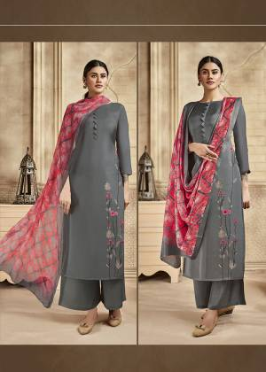 Grab This Very Beautiful And Elegant Looking Designer Straight Suit In Grey Color Paired With Dark Pink Colored Dupatta. Its Pretty Elegant Embroidered Top Is Fabricated On Satin Silk Paired With Santoon Bottom and Viscose Muslin Fabricated Printed Dupatta.
