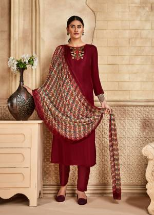 Grab This Very Beautiful And Elegant Looking Designer Straight Suit In Maroon Color Paired With Multi Colored Dupatta. Its Pretty Elegant Embroidered Top Is Fabricated On Satin Silk Paired With Santoon Bottom and Viscose Muslin Fabricated Printed Dupatta.