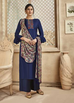 Grab This Very Beautiful And Elegant Looking Designer Straight Suit In Royal Blue Color Paired With Multi Colored Dupatta. Its Pretty Elegant Embroidered Top Is Fabricated On Satin Silk Paired With Santoon Bottom and Viscose Muslin Fabricated Printed Dupatta.