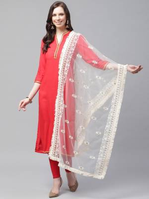 Enhance The Look Of Your Gown, Lehenga Or Even Kurti With This Pretty Lakhnavi Embroidered Net Fabricated Dupatta. You Can Pair This Up Same Or Contrasting Colored Attire. Buy Now.