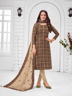 Grab This Designer Straight Suit For Your Semi-Casual Wear In Brown Color Paired With Sand Brown Colored Bottom and Dupatta. Its Top and Dupatta Are Chanderi Based Paired With Cotton Bottom.