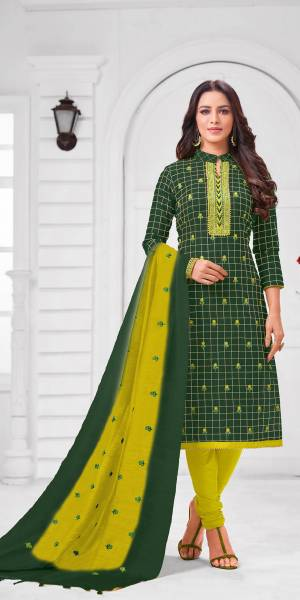 Add This Pretty Suit To Your Wardrobe In Dark Green colored Top Paired With Contrasting Parrot Green Colored Bottom and Dupatta. Its Top Is Fabricated On Modal Silk Paired With Cotton Bottom and Dupatta.