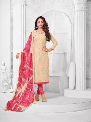 Simple And Elegant Looking Designer Straight Suit Is Here In Beige Color Paired With Pink Colored bottom And Dupatta. Its Top Is Fabricated On Modal Silk Paired With Cotton Bottom and Fancy Chiffon Dupatta.