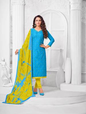 Simple And Elegant Looking Designer Straight Suit Is Here In Blue Color Paired With Pear Green Colored bottom And Dupatta. Its Top Is Fabricated On Modal Silk Paired With Cotton Bottom and Fancy Chiffon Dupatta.