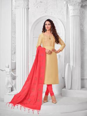 Add This Pretty Suit To Your Wardrobe In Cream colored Top Paired With Contrasting Crimson Red Colored Bottom and Dupatta. Its Top Is Fabricated On Modal Silk Paired With Cotton Bottom and Dupatta.