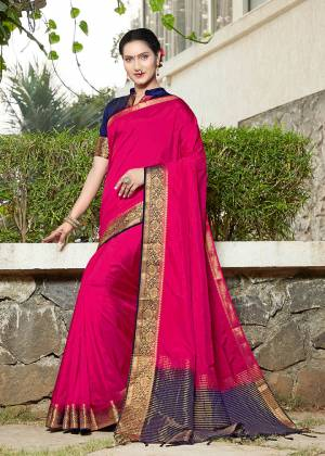 Simple And Elegant Looking Weaved Border Saree Is Here In Dark Pink Color Paired With Navy Blue Colored Blouse. This Saree Is Fabricated On Banarasi Silk Paired With Art Silk Fabricated Blouse. Buy Now.
