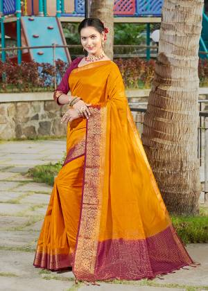 Simple And Elegant Looking Weaved Border Saree Is Here In Musturd Yellow Color Paired With Maroon Colored Blouse. This Saree Is Fabricated On Banarasi Silk Paired With Art Silk Fabricated Blouse. Buy Now.