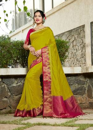 Simple And Elegant Looking Weaved Border Saree Is Here In Pear Green Color Paired With Magenta Pink Colored Blouse. This Saree Is Fabricated On Banarasi Silk Paired With Art Silk Fabricated Blouse. Buy Now.