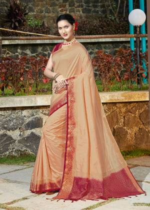 Simple And Elegant Looking Weaved Border Saree Is Here In Beige Color Paired With Maroon Colored Blouse. This Saree Is Fabricated On Banarasi Silk Paired With Art Silk Fabricated Blouse. Buy Now.