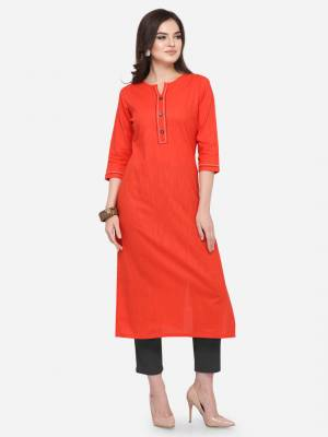 For Your Casual Wear, Grab This Pretty Readymade Straight Kurti In Red Color Fabricated On Cotton. This Kurti Can Be Paired With Same Or Contrasting Colored Pants, Leggings Or Plazzo.