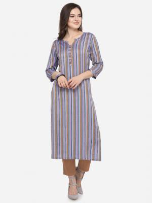 Add This Pretty Kurti To Your Wardrobe In Purple Color. This Readymade Kurti Is Fabricated On Rayon With Lining Prints. It Is Light In Weight And Easy To Carry All Day Long .