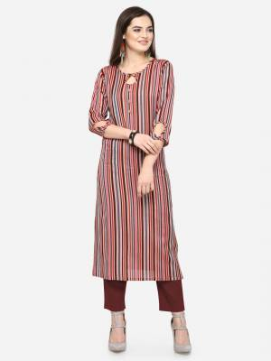 For Your Casual Wear, Grab This Pretty Readymade Straight Kurti In Multi Color Fabricated On Rayon. This Kurti Can Be Paired With Same Or Contrasting Colored Pants, Leggings Or Plazzo.