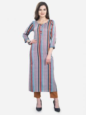Add This Pretty Kurti To Your Wardrobe In Blue Color. This Readymade Kurti Is Fabricated On Rayon With Lining Prints. It Is Light In Weight And Easy To Carry All Day Long .