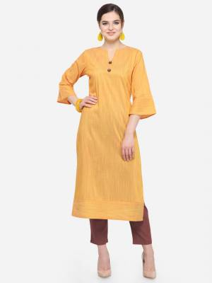 Add This Pretty Kurti To Your Wardrobe In Musturd Yellow Color. This Readymade Kurti Is Fabricated On Cotton Silk. It Is Light In Weight And Easy To Carry All Day Long .