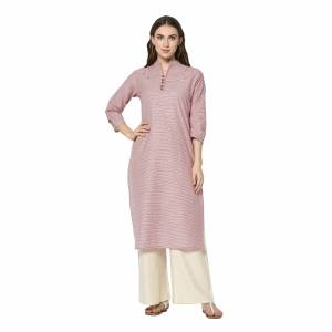 For Your Casual Wear, Grab This Pretty Readymade Straight Kurti In Pink Color Fabricated On Cotton. This Kurti Can Be Paired With Same Or Contrasting Colored Pants, Leggings Or Plazzo.