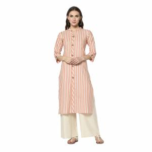 Add This Pretty Kurti To Your Wardrobe In Light Orange Color. This Readymade Kurti Is Fabricated On Cotton With Lining Prints. It Is Light In Weight And Easy To Carry All Day Long .