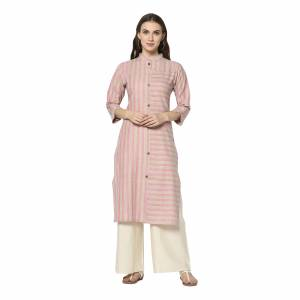 For Your Casual Wear, Grab This Pretty Readymade Straight Kurti In Light Pink Color Fabricated On Cotton. This Kurti Can Be Paired With Same Or Contrasting Colored Pants, Leggings Or Plazzo.