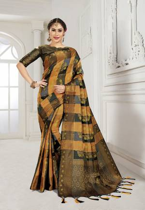 Look Attractive Wearing This Heavy Weaved silk Based Designer Saree In Rust And Black Color. This Checks Patterned Saree Is Fabricated On Cotton Silk Paired With Art Silk Fabricated Blouse. Its Rich Fabric And Color Will Earn You Lots Of Compliments From Onlookers.