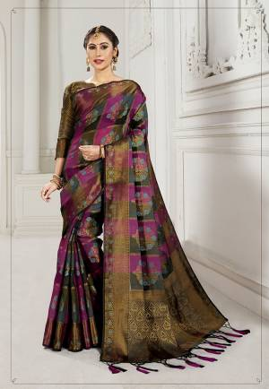 Look Attractive Wearing This Heavy Weaved silk Based Designer Saree In Magenta Pink And Black Color. This Checks Patterned Saree Is Fabricated On Cotton Silk Paired With Art Silk Fabricated Blouse. Its Rich Fabric And Color Will Earn You Lots Of Compliments From Onlookers.
